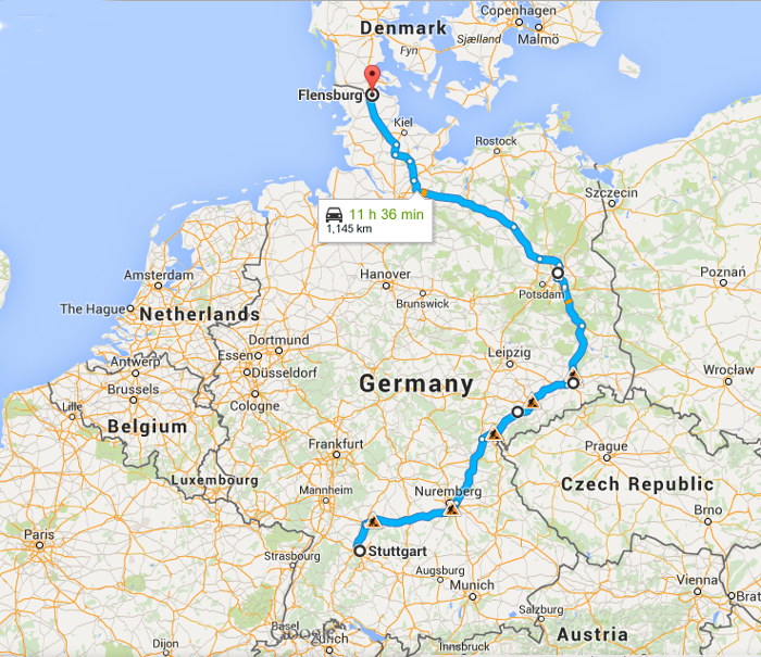 Southern Germany to Denmark via Berlin