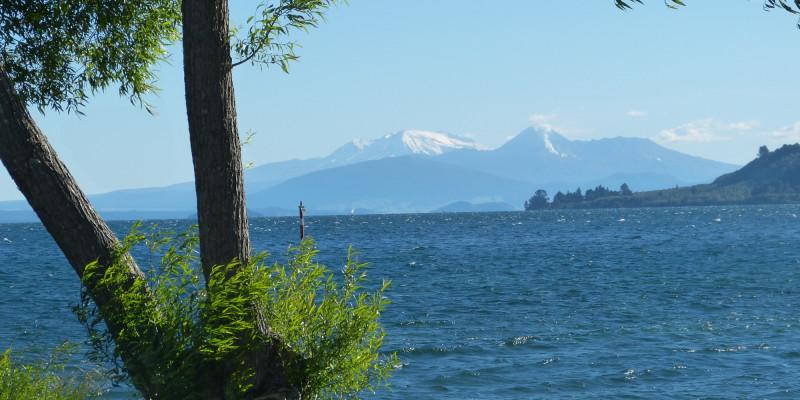 Lake Taupo looking toward the mountains