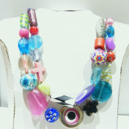 Eclectic chunky necklace with beads from Bijoux