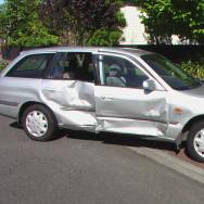 Silver station wagon after crash
